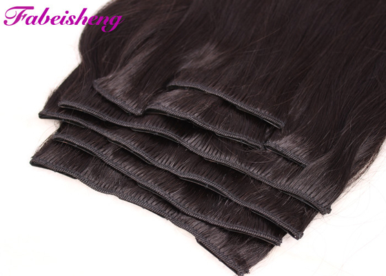 Triple Weft 100 Human Hair Clip In Extensions Double Drawn Thick Ends